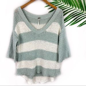 Free People Knitted Sweater Striped V Neck Small